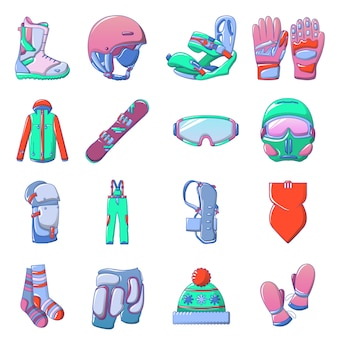 Snowboarding equipment icons set, cartoon style