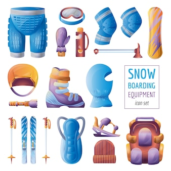 Snowboarding equipment icons set