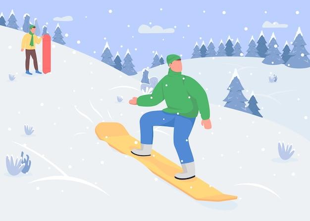 スノーボードフラットカラー。ウィンタースポーツのオプション。下り坂のそり。屋外の雪の活動の多様性。背景に雪山とスポーティな2d漫画のキャラクター