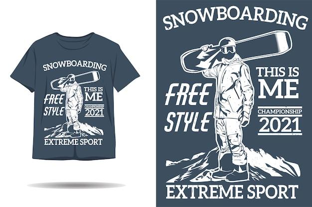 Сноубординг фристайл экстремальный спорт силуэт дизайн футболки