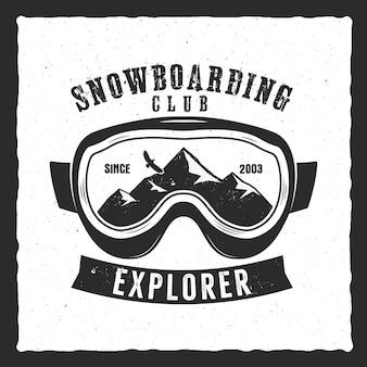 Сноубордические очки экстремальный логотип и шаблон этикетки. значок зимнего сноуборд-клуба, эмблема. знак отличия mountain adventure, логотип. винтаж векторный дизайн.