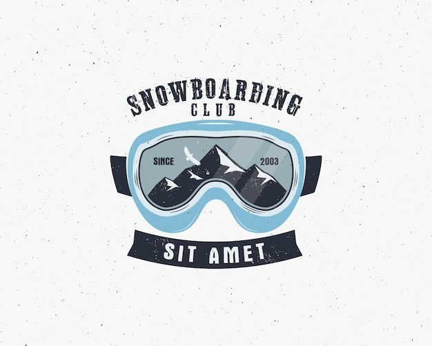 Snowboarding goggles extreme logo