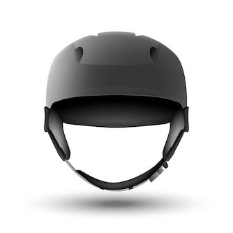白で隔離のスノーボードヘルメット。マウンテンスキーまたは自転車のスポーツ用品。正面図。頭の安全。
