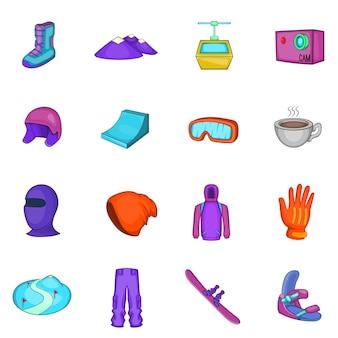 Snowboarding icons set