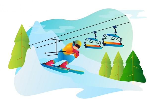 Snowboarding illustration in flat style