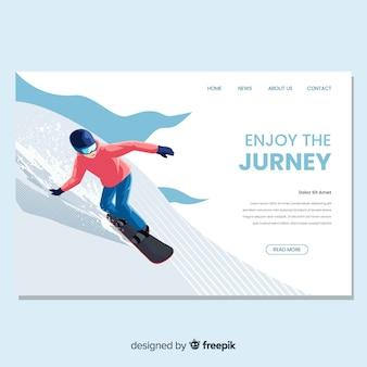 Snowboarding landing page in flat design