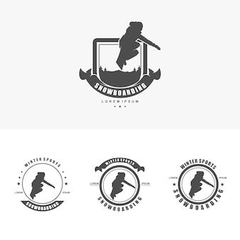 スノーボードのロゴデザインテンプレートイラストベクトル