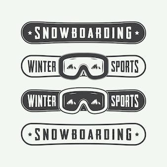 Snowboarding logo set