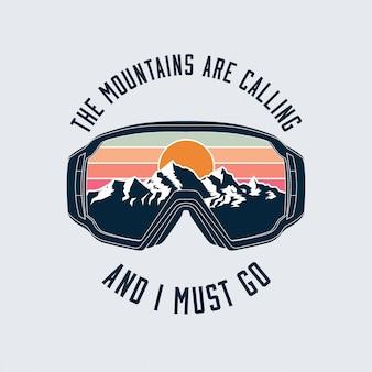 Сноубординг или лыжные очки защитная маска эмблема с отражением ландшафта гор.