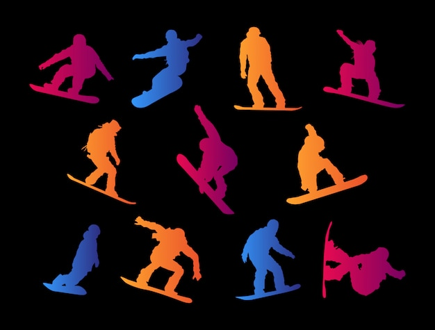 Snowboarding silhouettes.