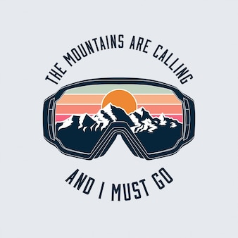 Snowboarding or ski goggles protective mask emblem with mountains landscape reflection.