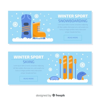 Snowboarding skiing banner template