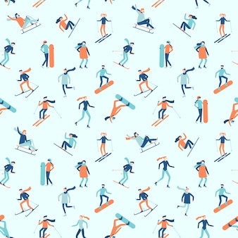 Snowboarding and skiing seamless pattern