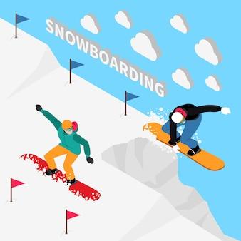 Snowboarding track isometric