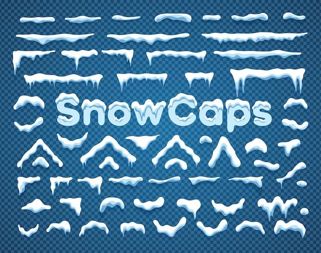 雪片とつららとスノーキャップベクトルイラストコレクション水平と三角形の白