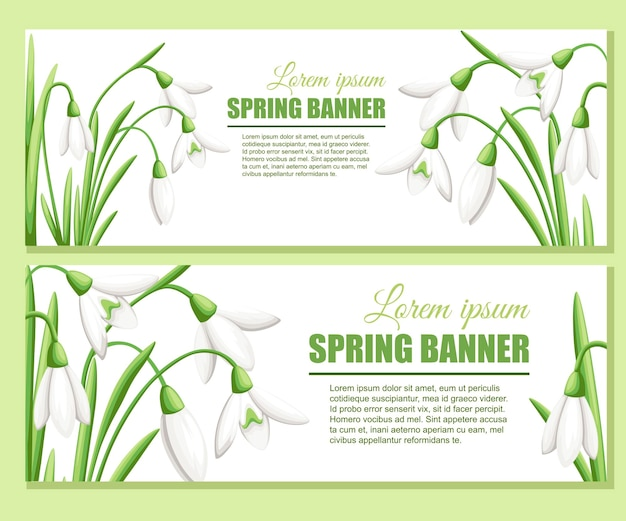 Snowdrop advertising greetings card design flat illustration