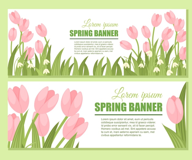 Snowdrop spring banner set.