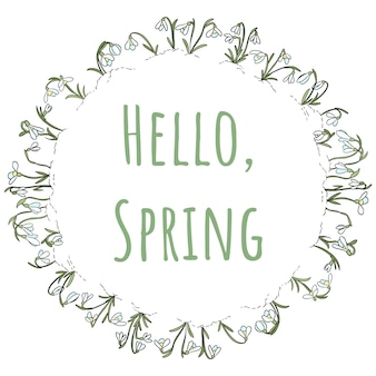 Snowdrops飾りの花輪のこんにちは春のテキスト
