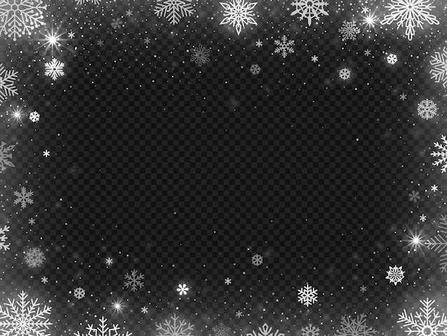 Snowed border frame background. christmas holiday snow, clear frost blizzard snowflakes