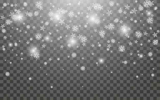 Снегопад и падающие снежинки на темном прозрачном фоне. белые снежинки и рождественский снег. векторная иллюстрация