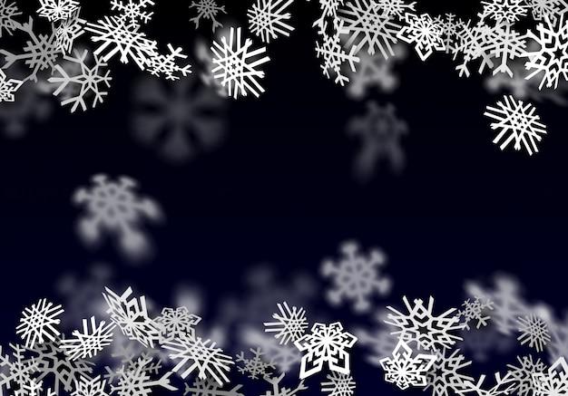 降雪の背景。大きな雪で透明な雪が降る