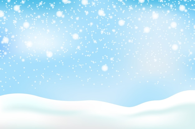 Snowfall background with sky