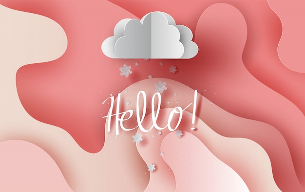 Snowfall in cloud on abstract curve shape pink sky background.