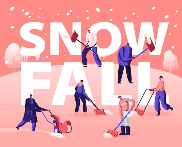 Концепция снегопада. мультфильм плоский иллюстрация