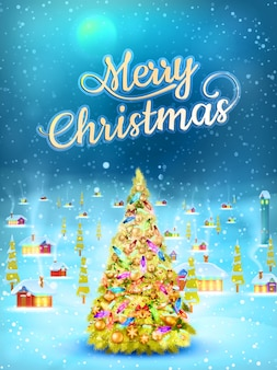 Snowfall covered little village with tree. merry christmas greeting card