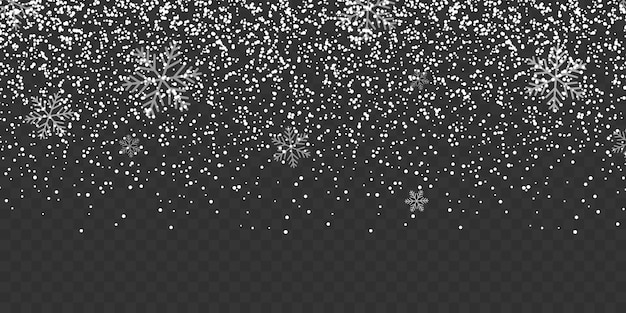 Snowfall isolated on transparent background.