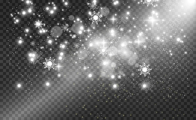 Snowfall. a lot of snow on a transparent background.  winter background. snowflakes falling from the sky.