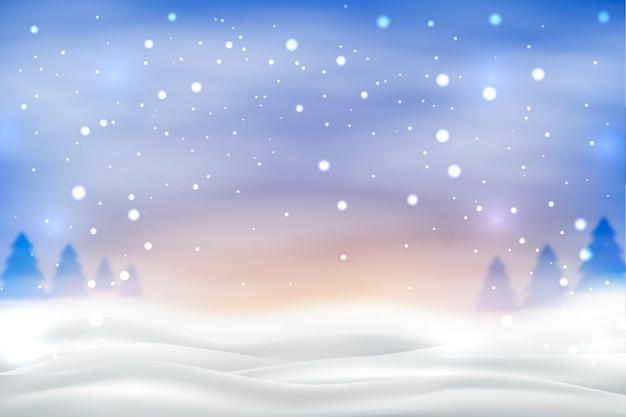 Снегопад на фоне красочных неба