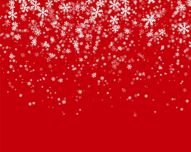 Snowfall on red background