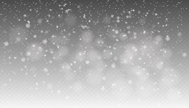 Снегопад, бесшовные реалистичный падающий снег, снежинки разных форм и форм, зимняя погода.