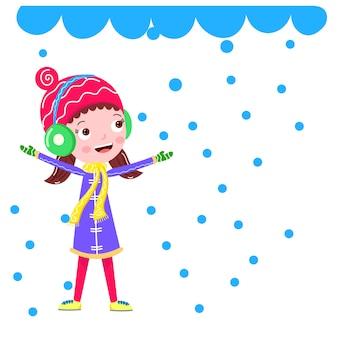 Snowfall in winter a girls cartoon vector