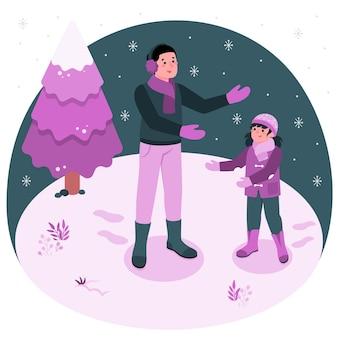 Illustrazione di concetto di nevicate