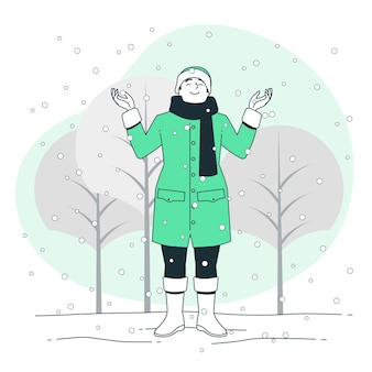 Snowfalling concept illustration