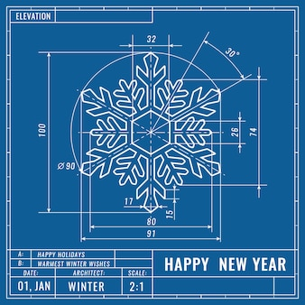 Snowflake as technical blueprint drawing