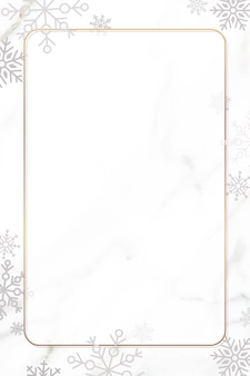 Snowflake christmas frame design on white background