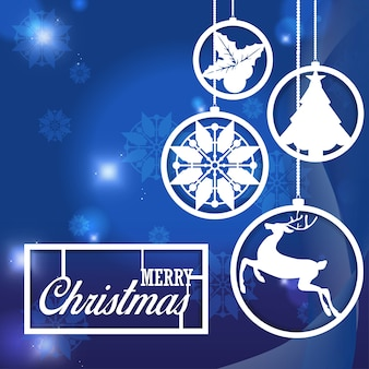 Snowflake christmas ornament on abstract blue background