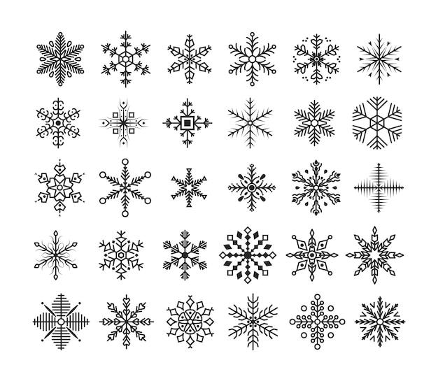 スノーフレークコレクション。かわいい雪の結晶のセットです。冬のフラット装飾要素。