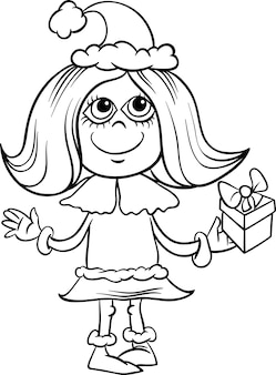Snowflake girl cartoon coloring page