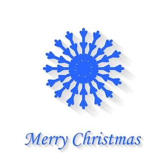 白い背景の上のスノーフレークグリーティングカードメリークリスマス。