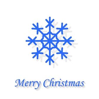 흰색 배경에 눈송이 인사말 카드 메리 크리스마스입니다.