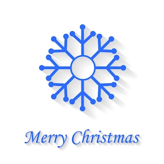 Snowflake greeting card on white background merry christmas.