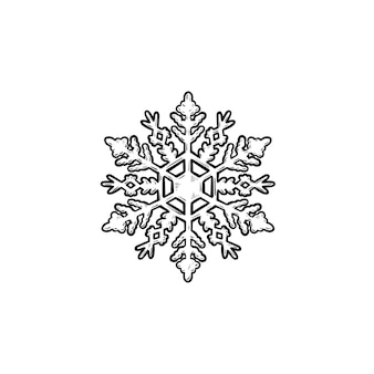 Snowflake hand drawn outline doodle icon. snow and cold weather, winter holiday and frost concept. vector sketch illustration for print, web, mobile and infographics on white background.