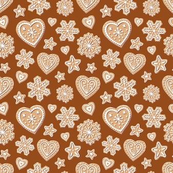 Снежинка, сердце, звезда на коричневом фоне. сладкое и вкусное праздничное печенье