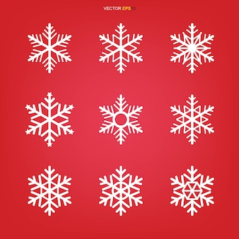 Снежинка значок набор иллюстрации