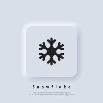 Значок снежинки. снежинка логотип. рождество и зимняя тема. вектор eps 10. неуморфный ui ux белая веб-кнопка пользовательского интерфейса. неоморфизм