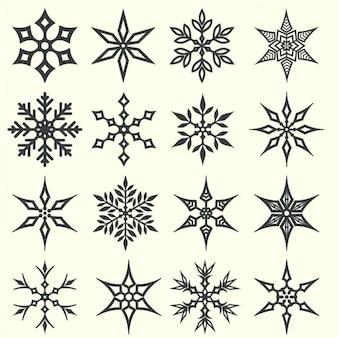 Коллекция векторных снежинок иконки